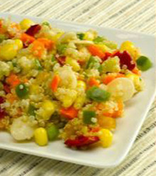 White quinoa, diced carrots, corn, sliced pepper, and sliced almonds prepared in citrus vinaigrette with Dijon mustard.