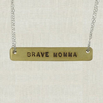 MaxLove Brave Momma Brass Bar Necklace