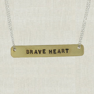 MaxLove Brave Heart Brass Bar Necklaces