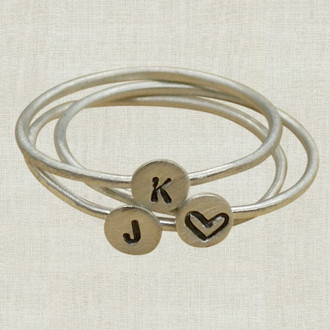 Stacking Teensy Initial Ring