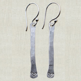 Hammered Bar Heart Earrings