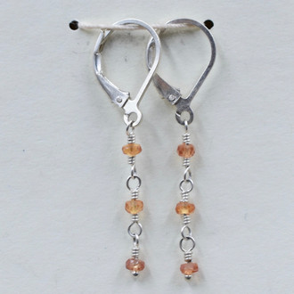 Orange Sapphire 3 Drop Earrings