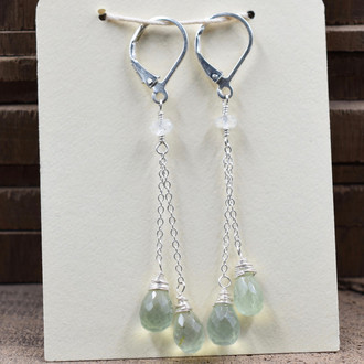 Double Light Green Dangling Earrings