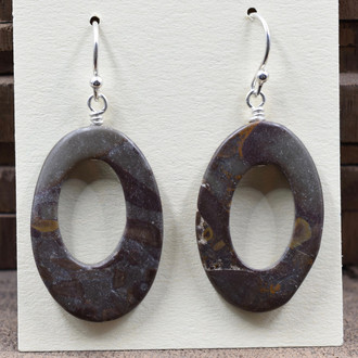 Brown Oval Stone Earrings