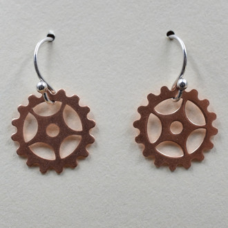 Copper Bike Gear Earrings