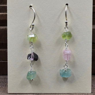 Watermelon Tourmaline 3 Drop Earrings