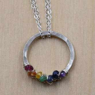 Small Rainbow Life Circle Necklace