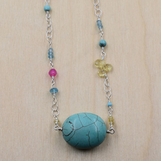 Oval Turquoise Asymmetrical Necklace
