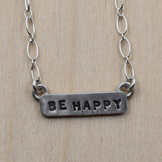 Be Happy Bar Necklace