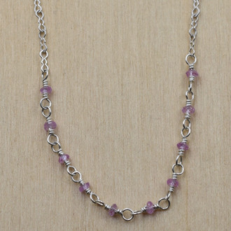 Pink Sapphire Long Necklace
