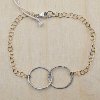 Double Silver Circle Gold Fill Bracelet