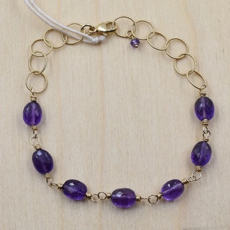 Amethyst Gold Fill Bracelet