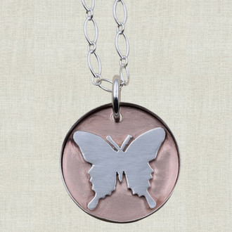 Butterfly on Copper Pendant Necklace