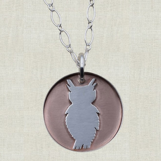 Owl on Copper Pendant Necklace