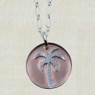 Palm Tree on Copper Pendant Necklace