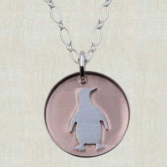 Penguin on Copper Pendant Necklace