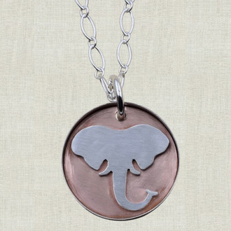 Elephant Head on Copper Pendant Necklace