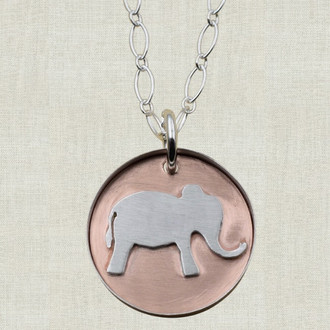 Elephant on Copper Pendant Necklace