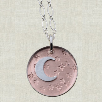 Moon and Stars on Copper Pendant Necklace