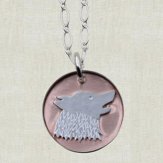 Wolf on Copper Pendant Necklace