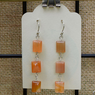 Orange Pillow 3 Drop Earrings