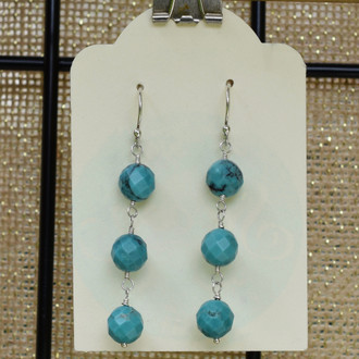 Round Turquoise 3 Drop Earrings