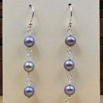 Purple Pearl 3 Drop Earrings
