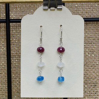 Red, White and Blue 3 Drop Earrings