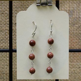 Goldstone 3 Drop Earrings