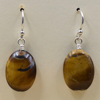 Tiger's Eye Oval Earrings