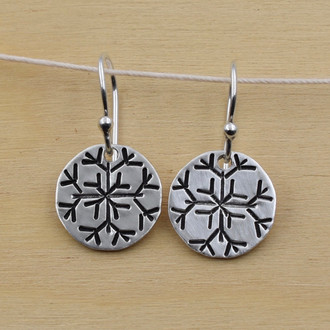 Hand Stamped Snowflake Earrings