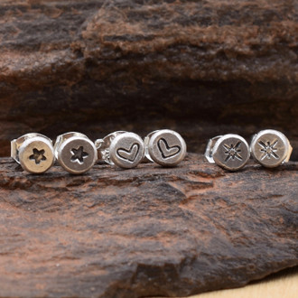 Mini Stamped Nugget Stud Earrings