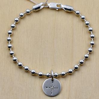 Compass Charm Bead Bracelet