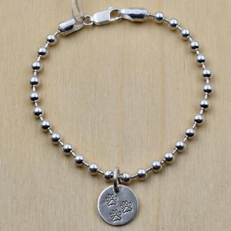 Dog Paw Charm Bead Bracelet