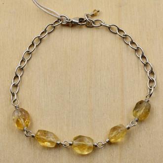 Citrine 5 Nugget Bracelet