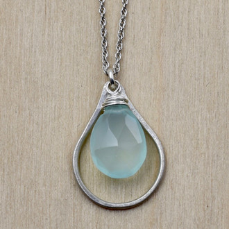 Chalcedony Silver Teardrop Necklace