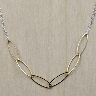 Gold Fill Ovals on Silver Necklace
