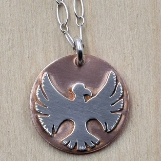Round Eagle On Copper Necklace