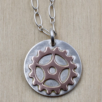 Copper Bike Gear Necklace