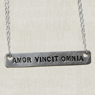 Amor Vincit Omnia (Love Conquers All) Bar Necklace