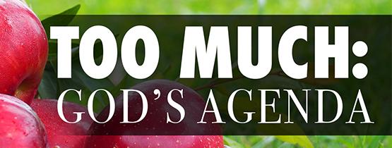 Too Much: God's Agenda
