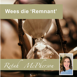 "Retah McPherson's Afrikaans MP3 teaching about ""Wees die Remnant."" This is an Afrikaans MP3 teaching. This product you will download directly after purchase. No CD will be shipped to you."