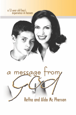 """Filled with scripture references and direct quotes from the Bible, Message from God will ignite the sparks of the Holy Spirit in your life and bring you closer to God, while Aldo's letters in his own handwriting give a sense of authenticity not often found in miracle stories.   Although a car accident left my eldest son, Aldo, with severe brain injuries, I can testify that God is good. He has awaken my Spirit to Him and I've come to know Him as a Holy God who wants my life, not only my heart.  When Aldo was in a coma, he had a supernatural experience where he went to heaven, saw God, the angels, Moses and Abraham. Aldo came back with one message: """"Jesus is alive!""""  The bride has to ready herself for the Bridegroom is coming back for her. I pray that the Holy Spirit will touch everyone who reads this book; that their spiritual eyes will be opened and that those who seek it will find the abundant life that God wants for all His children."""
