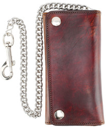 F&L CLASSIC RFID Blocking Men's Tri-fold Vintage Long Style Cowhide Top Grain Leather Steel Chain Wallet,Snap closure, Made In USA,