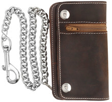 "F&L CLASSIC Men's Tri-fold Vintage Long Style 6"" Cow Top Grain Leather Steel Chain Wallet,Made In USA,Snap closure,pu420,crazy horse brown"