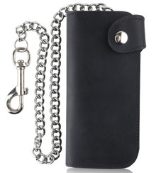 F&L CLASSIC RFID Blocking Men's Bifold Vintage Long Style Cow Top Grain Leather Steel Chain Wallet,Made In USA,Snap closure,Black