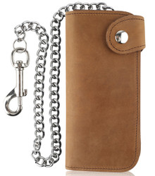 F&L CLASSIC RFID Blocking Men's Bifold Vintage Long Style Cow Top Grain Leather Steel Chain Wallet,Made In USA,Snap closure,Crazy Horse Brown