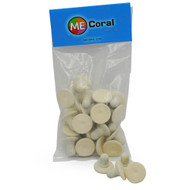 "1"" White Round Frag Plugs (20ct) - MECoral"