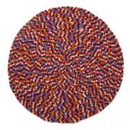 Handmade Wool Felt Ball Round Rug - Kids Decor