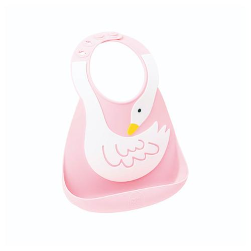 Make My Day Silicone Baby Bib - Pink Swan